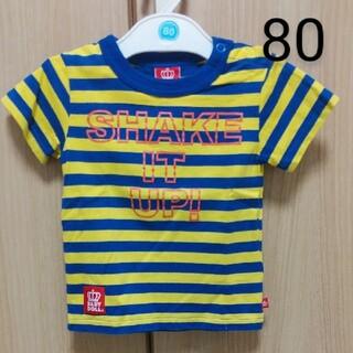 ベビードール(BABYDOLL)のベビー キッズ 80 ベビードール Tシャツ   半袖 ボーダー 青 黄色(Tシャツ)