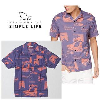 シンプルライフ(SIMPLE LIFE)の 《シンプルライフ》新品 ホライゾンプリント カジュアルシャツ 紫 Mサイズ(シャツ)