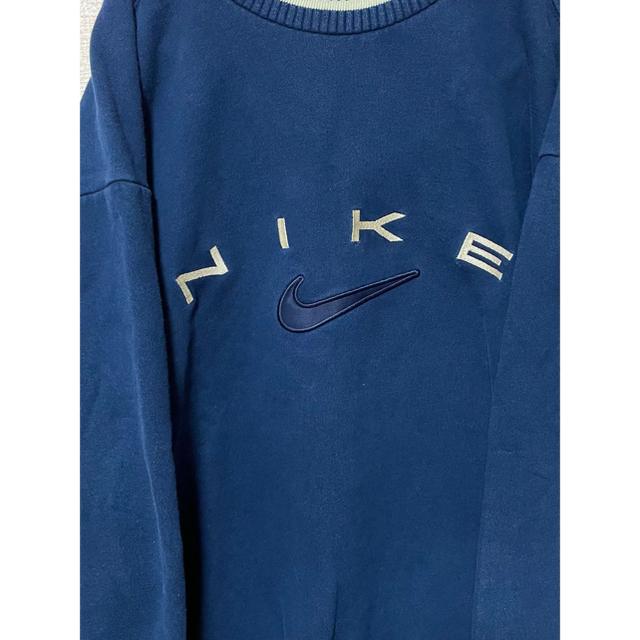 NIKE(ナイキ)の【超超激レア】90s ナイキ NIKE スウェット  刺繍 ラインリブ 銀タグ メンズのトップス(スウェット)の商品写真