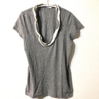 サカイラック(sacai luck)の美品 sacai luck グレーTシャツ フリル(Tシャツ(半袖/袖なし))