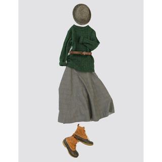 フォーティファイブアール(45R)の45R 二重織 コットンウールのスカート サイズ2(ロングスカート)