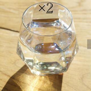 スリーコインズ(3COINS)の六角オーロラグラス 2つセット スリコ(グラス/カップ)