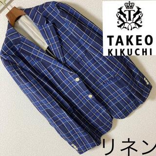 タケオキクチ(TAKEO KIKUCHI)の良品◆TAKEO KIKUCHI◆リネン 麻100 チェックテーラードジャケット(テーラードジャケット)