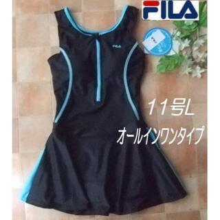 FILA - ◆FILAフィラ・オールインワン・フィットネスワンピース水着・11号L・黒ブルー