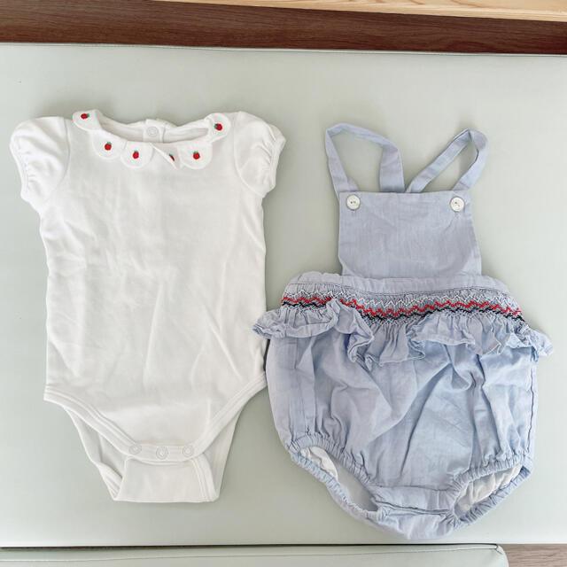 Jacadi(ジャカディ)のjacadiワンピース&苺ロンパースセット キッズ/ベビー/マタニティのベビー服(~85cm)(ロンパース)の商品写真
