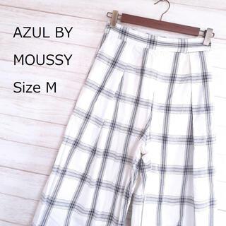 AZUL by moussy - 【美品☆】AZUL ワイドパンツ 女性 白黒チェック柄 M