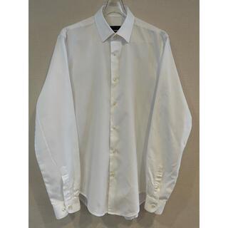 ザラ(ZARA)のZARA 長袖シャツ 織り柄 白 大きめL スリムフィット(シャツ)