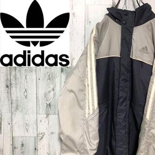 adidas - アディダス ポリナイロンジップパーカージャケット 袖ライン 3本線 フード収納