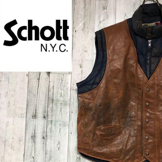 schott(ショット)のショット Schott USA製 レザー ×ナイロンダウンベスト ビッグサイズ メンズのトップス(ベスト)の商品写真