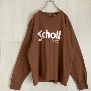 ショット(schott)のショット schott ロングTシャツ カットソー古着 アースカラー ビッグロゴ(Tシャツ/カットソー(七分/長袖))