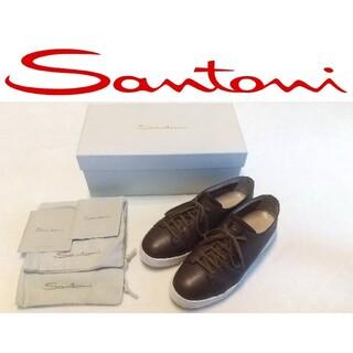 Santoni - サントーニ レザースニーカー 箱、袋付 ブラウン 参考価格40000円
