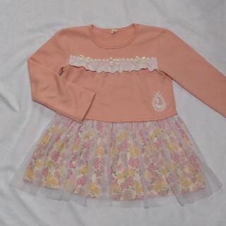 花柄スカートのチュニックワンピ 130cm ピンク 子供服 長袖(ワンピース)