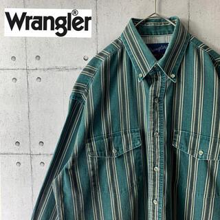 ラングラー(Wrangler)のビンテージ古着 ラングラー ストライプシャツ オーバーサイズ アースカラー(シャツ)