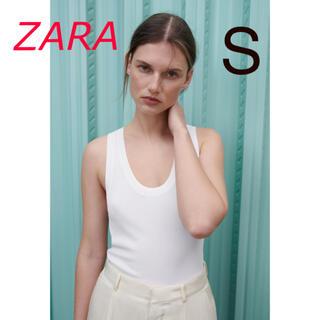 ザラ(ZARA)の新品 ZARA リブ編みニットトップス S  ホワイト(タンクトップ)