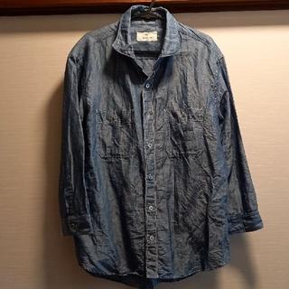 EDIFICE - お値引きEDIFICEコットンリネン混七分袖シャツブルー46新品同様