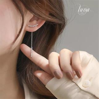 4℃ - crystal chain pierce★S925 silver