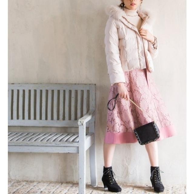 MISCH MASCH(ミッシュマッシュ)の《MISCH MASCH》ベルト付 フラワーレース プレーンスカート S レディースのスカート(ひざ丈スカート)の商品写真