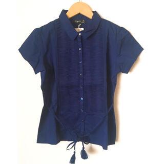 agnes b. - agnes b. 半袖ブラウス 紺 新品未使用 Sサイズ