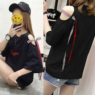 ~3L 肩開きチェック&ロゴテープロゴTシャツチュニック黒(Tシャツ(半袖/袖なし))