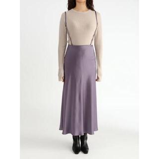Mila Owen - 《新品タグ付き》ミラオーウェン サスペンダー付きサテンナローロングスカート