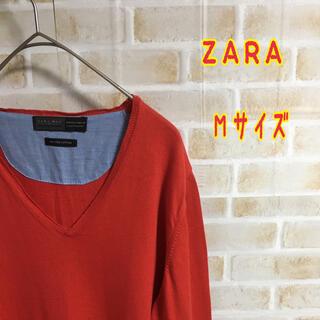 ザラ(ZARA)の【大人気】ZARA レッド ニットカーディガン Mサイズ 古着(カーディガン)