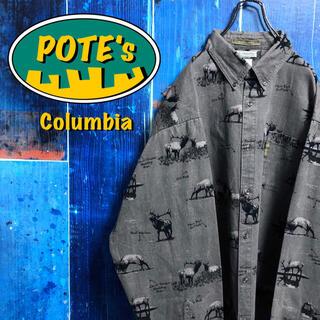 Columbia - 【コロンビア】アニマル柄シカ柄ロゴタグ総柄ビッグハンティングシャツ