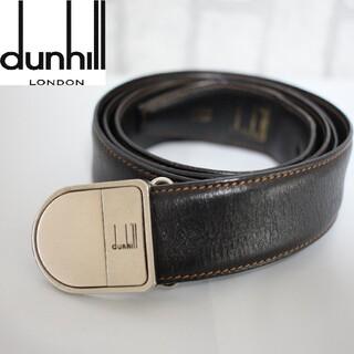 dunhill ダンヒル レザーベルト ロゴバックル ブラック