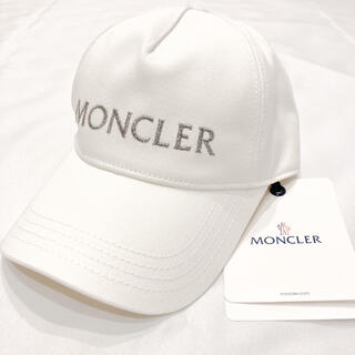 MONCLER - 新品 モンクレール 刺繍ロゴ ラメ ベースボール キャップ ホワイト レア 美品