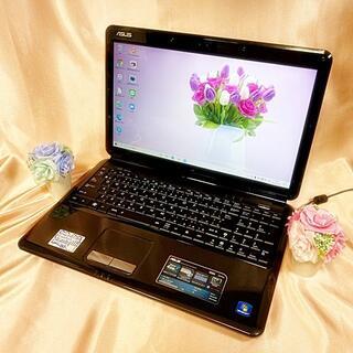 ASUS - 艶ブラック💎かっこ可愛い✨カメラ内臓♪ASUS/HDD500GBノートパソコン
