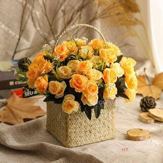 造花 花かご イエロー マルチカラー シャボンフラワー アーティフィシャルフラ(ドライフラワー)