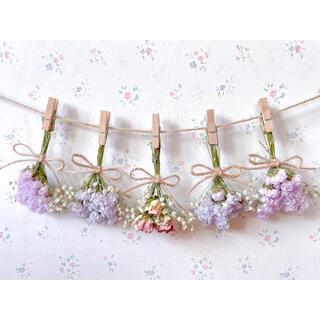 3種のピンクのバラとかすみ草の春色ドライフラワーガーランド♡スワッグ♡ミニブーケ(ドライフラワー)
