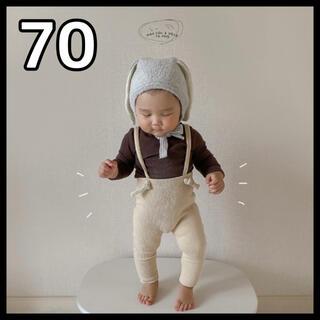韓国子供服 レギンス タイツ リブ お洒落 サスペンダー ベビー 70cm(パンツ)