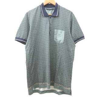 ドルチェアンドガッバーナ(DOLCE&GABBANA)のドルチェ&ガッバーナ ドルガバ 総柄 ポロシャツ 半袖 国内正規 54 グリーン(ポロシャツ)