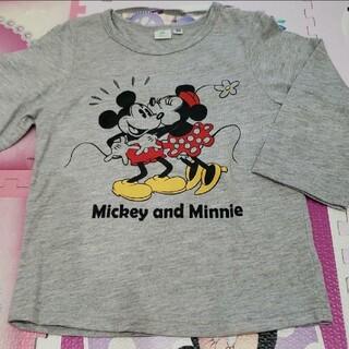 Disney - キッズ 100 ロンT 長袖 Tシャツ ミッキー ミニー ディズニー グレー