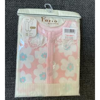 ニシキベビー(Nishiki Baby)の【新品】Fario ベビーボディスーツ 70cm ピンク花柄 襟元レースつき(ロンパース)