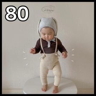 韓国子供服 レギンス タイツ リブ お洒落 サスペンダー ベビー 80cm(パンツ)