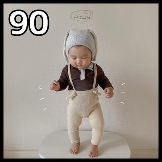 韓国子供服 レギンス タイツ リブ お洒落 サスペンダー ベビー 90cm(靴下/タイツ)