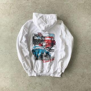 carhartt - Racing car print hoodie white パーカーレアデザイン