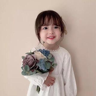 プティマイン(petit main)のベビー キッズ レース ワンピース90 白 刺繍 女の子 春服(ワンピース)