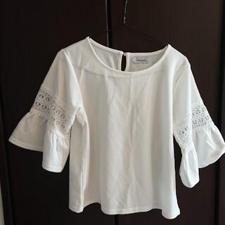七分袖刺繍 フレアブラウス ホワイト(カットソー(長袖/七分))