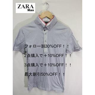 ザラ(ZARA)のZARA MANポロシャツ/グレイ襟レイヤードおしゃれかわいい♪M(ポロシャツ)
