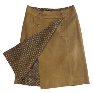 ルイヴィトン(LOUIS VUITTON)のLOUIS VUITTON☆ スカート LV モノグラム ラムスキン ブラウン(ひざ丈スカート)