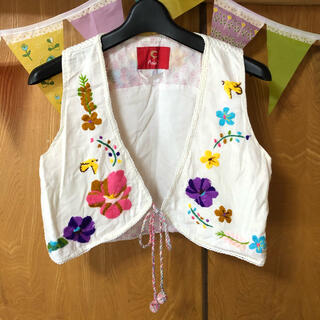 BEAMS BOY - ビームスボーイ Amina 刺繍 古着 ベスト 昭和レトロ