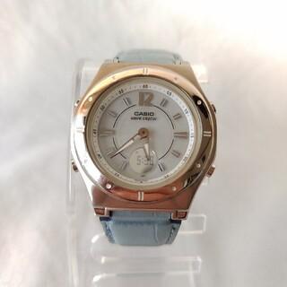 カシオ(CASIO)のカシオレディース電波ソーラー腕時計ウェーブセプターレザーベルトワールドタイム防水(腕時計)