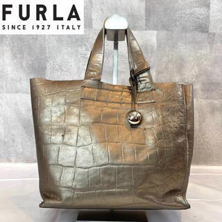 Furla - 【FURLA】フルラ 希少 クロコ型押し レザー トートバッグ シルバーゴールド