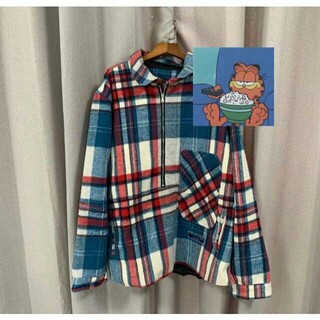 PEACEMINUSONE - We11Done CHECK SHIRT JACKET 青 BLUE gd着用