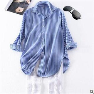 あお様  着やせ効果◎ 爽やか素材 ストライプ ロングシャツ~XL(シャツ/ブラウス(長袖/七分))