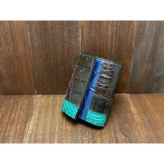 カジュアルなつぎはぎクロコダイルのカードサイズミニ財布(財布)