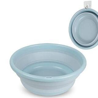 折りたたみ式洗い桶 洗面器 ブルー(その他)