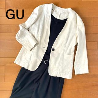 ジーユー(GU)のGUジーユー☆サマージャケット 七分袖ジャケット ベージュ 綿麻 S(ノーカラージャケット)